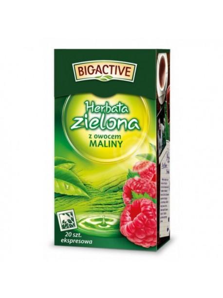 Чай зеленый с малиной листовой Big-Active Herbata zielona со вкусом малины 100g