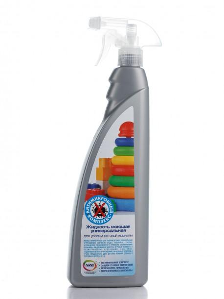 Нано Жидкость моющая универсальная ля уборки детской комнаты (аромат свежести+антимикробный комплекс), 800 мл