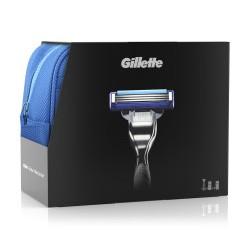 Набор подарочный Gillette Mach3 Turbo (бритва/1шт + gel/75ml + balm/50ml + bag)