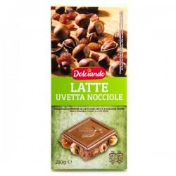 Шоколад Dolciando Latte Uvetta Nocciole 200г.