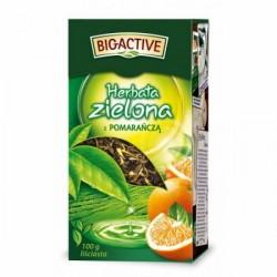 Чай зеленый с апельсином Big-active листовой, 100 грамм