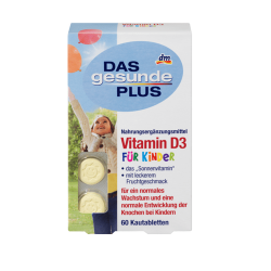 DAS gesunde PLUS Vitamin D3 fur Kinder 60 Kautabletten - витамин D3 для детей (Германия)