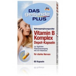 Витаминный комплекс Das Gesunde Plus Vitamin B Komplex Depot-Kapseln 60 капсул  Германия.