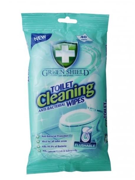 Влажные Салфетки Green Shield Антибактериальные Для Чистки Туалетов, 40 Шт