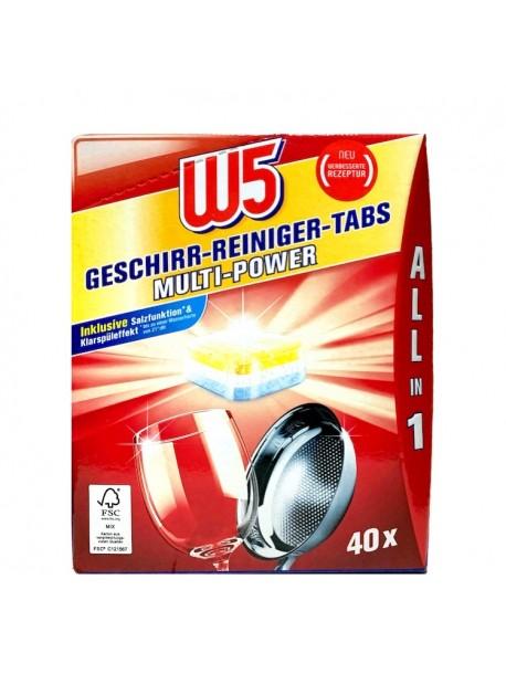 Таблетки для посудомоечной машины W5 ALL IN 1 40 шт